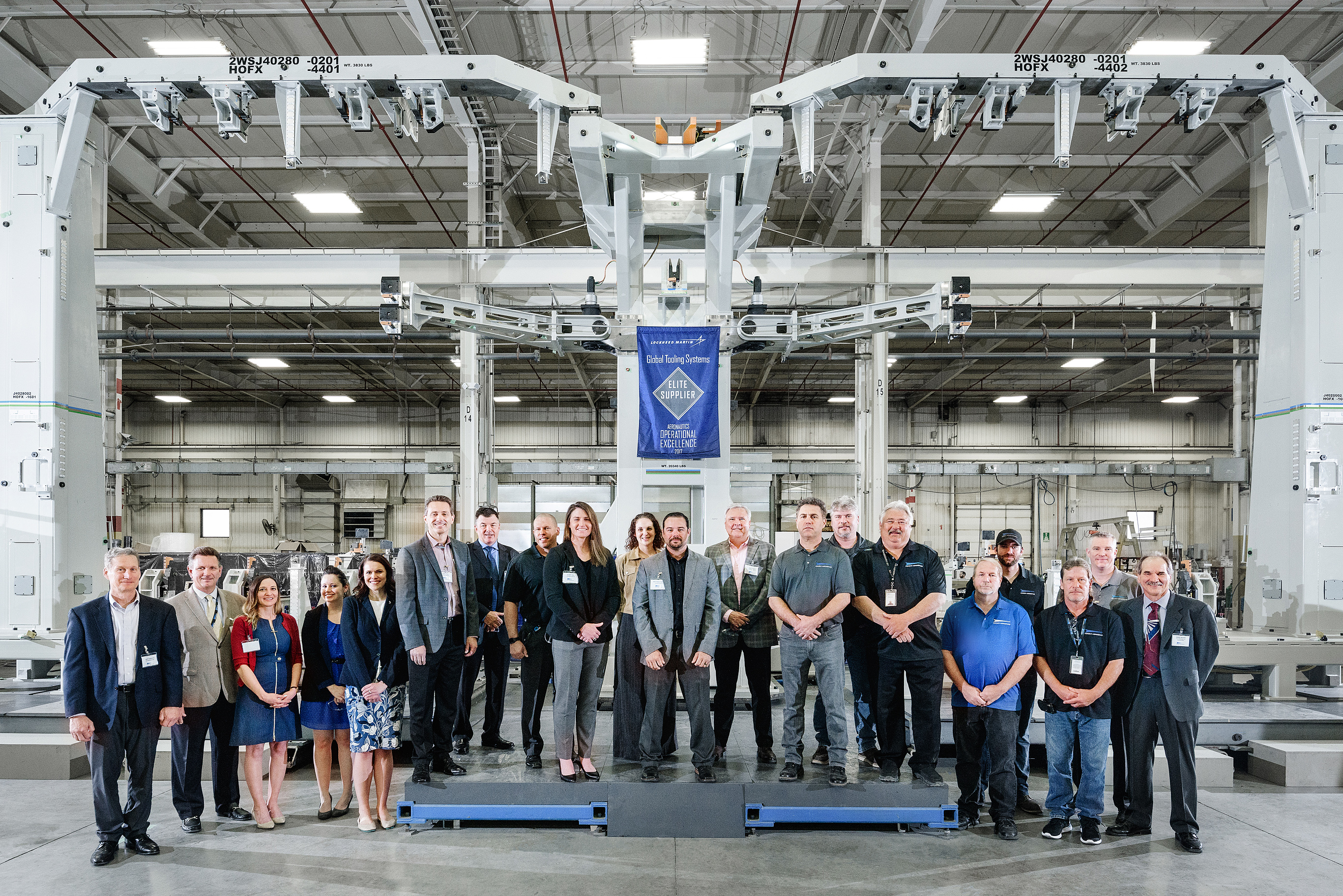 The Ascent factory tour concluded at a flexible wing holding fixture, slated to serve on the Lockheed Martin's F-35 assembly line in Fort Worth, which accepts multiple wing and center body scenarios to accomplish wing assembly and wing-to-body joining.